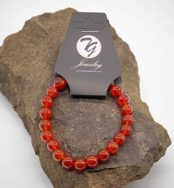 Natural Stone 8mm Beaded Stretch Bracelet - Carnelian - Turnmeyer Galleries