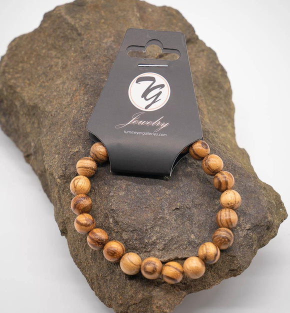 Natural Wood 8mm Beaded Stretch Bracelet - Turnmeyer Galleries