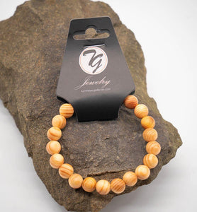 Natural Wood 8mm Beaded Stretch Bracelet