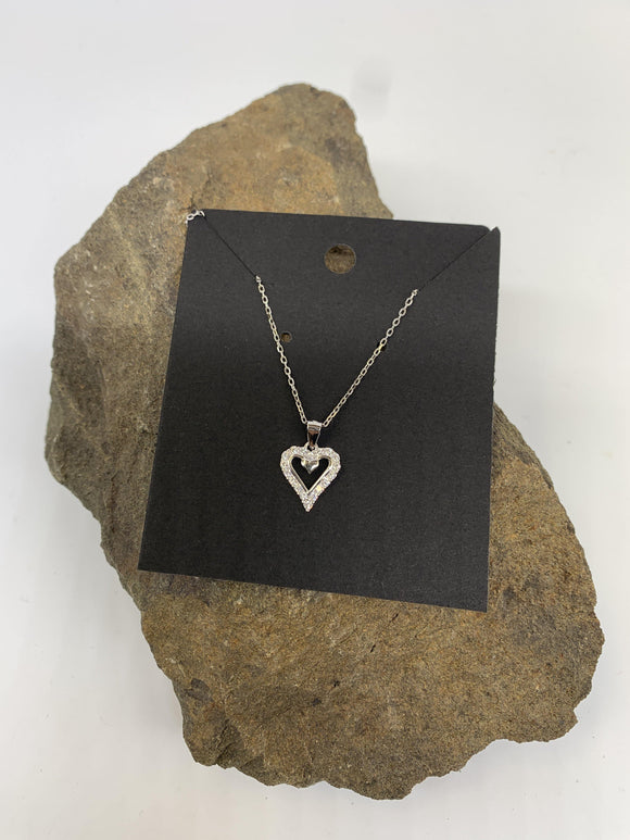 Sterling Silver Heart Necklace 925 - Turnmeyer Galleries