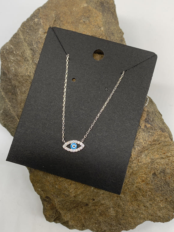 Sterling Silver Evil Eye Necklace 925 - Turnmeyer Galleries