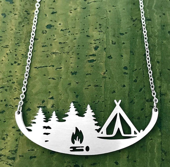 Tent Camping Stainless Steel Necklace - Turnmeyer Galleries