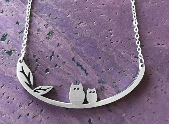 Owls Stainless Steel Necklace - Turnmeyer Galleries