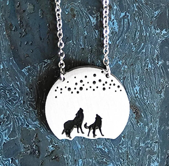 Howling Wolves Stainless Steel Necklace - Turnmeyer Galleries