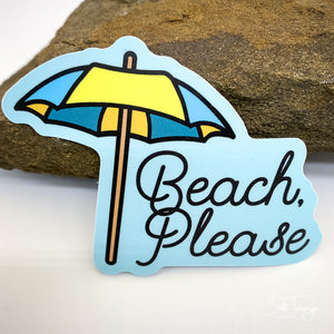 Beach Please Vinyl Sticker Decal