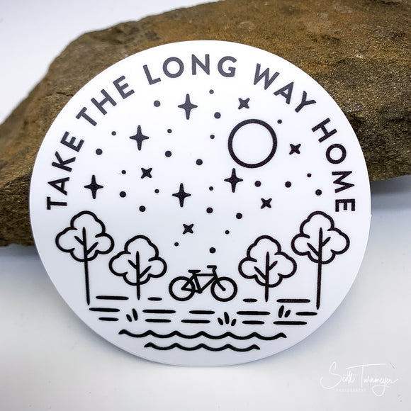 Take The Long Way Home Bicycle Bike Vinyl Sticker Decal