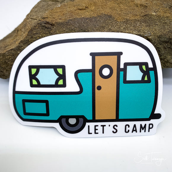 Let's Camp RV Retro Vinyl Sticker Decal