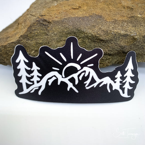 Dark Mountains Sunset Vinyl Sticker Decal