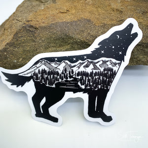 Wolf Howling Mountains Vinyl Sticker Decal