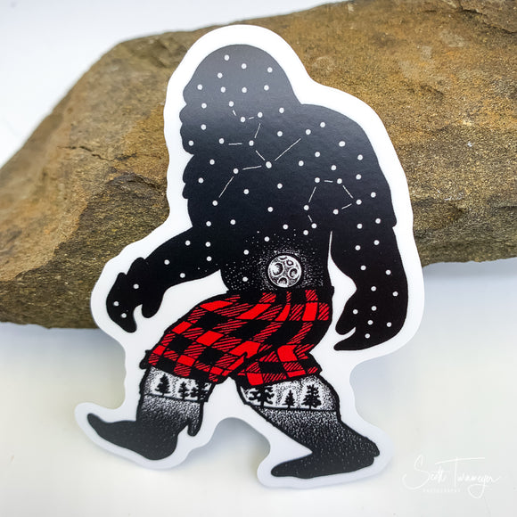 Bigfoot Sasquatch Plaid Shorts Vinyl Sticker Decal