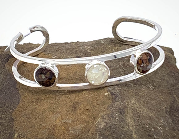 Triple Sandglobe Bracelet Cuff with Blue Ridge Mountain and Shenandoah River soil and riverbed