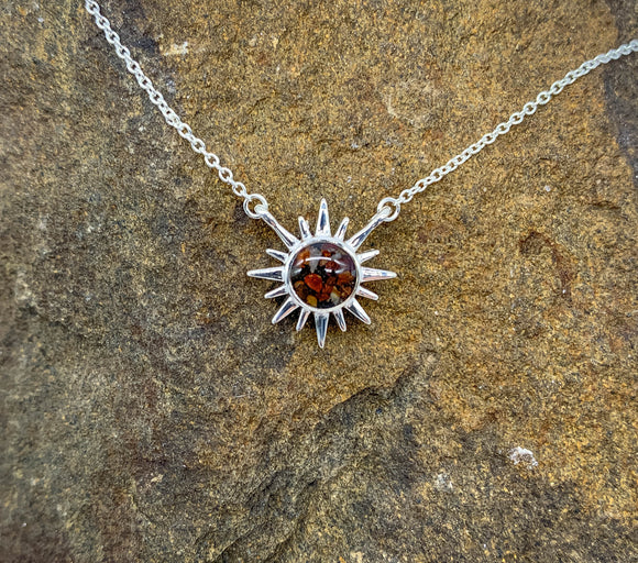 Blue Ridge Mountains Delicate Dune Sunburst Necklace