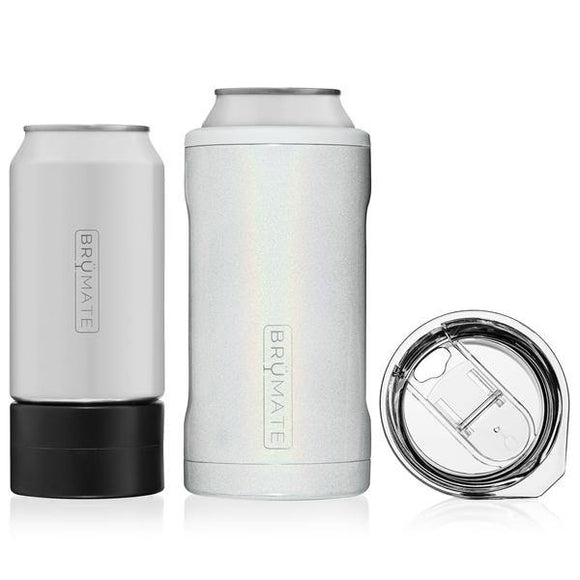 BruMate Hopsulator Trio, 3-in-1 Can Cooler - Glitter White - Turnmeyer Galleries