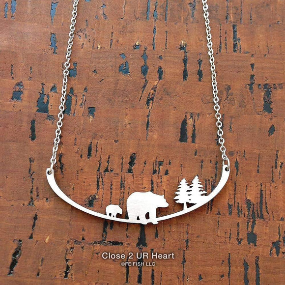 Two Bears Stainless Steel Necklace - Turnmeyer Galleries