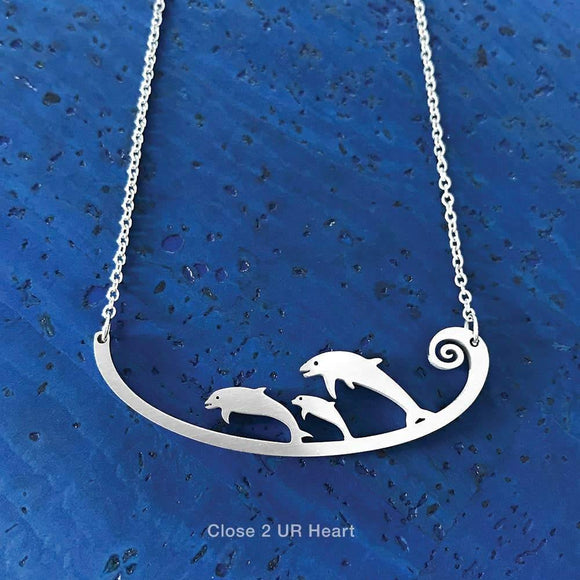 Dolphins Stainless Steel Necklace - Turnmeyer Galleries
