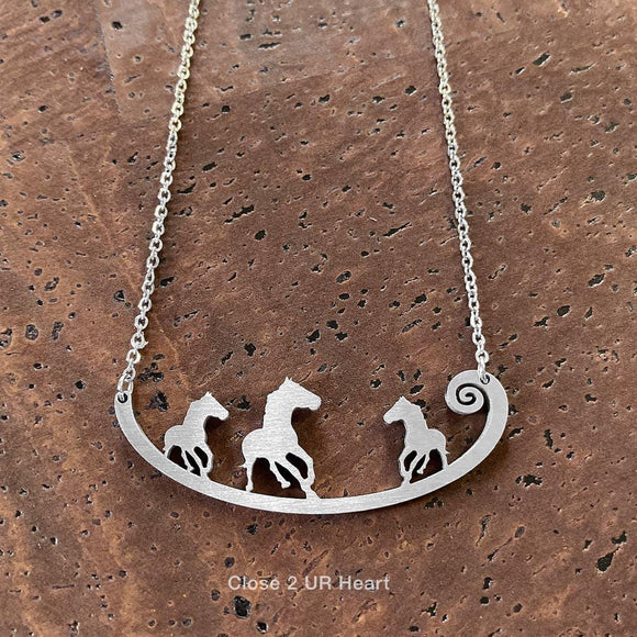 Horses Stainless Steel Necklace - Turnmeyer Galleries