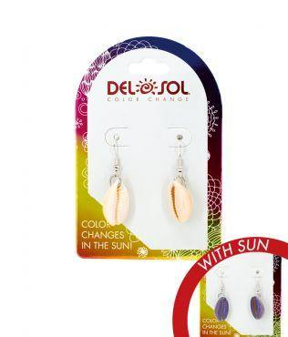 Del Sol Color-Changing Earrings – Purple Cowrie - Turnmeyer Galleries