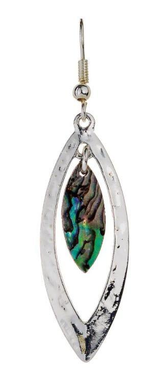 SILVER MARQUIS ABALONE EARRING