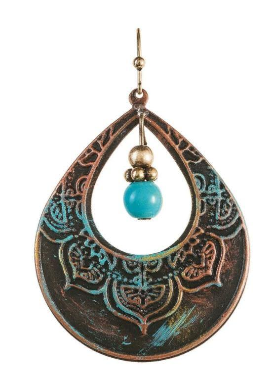 FIRE PATINA TURQUOISE DROP EARRING