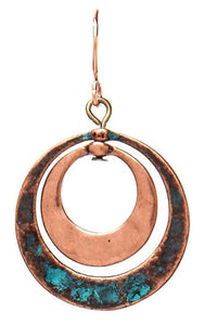 COPPER PATINA CIRCLES EARRING