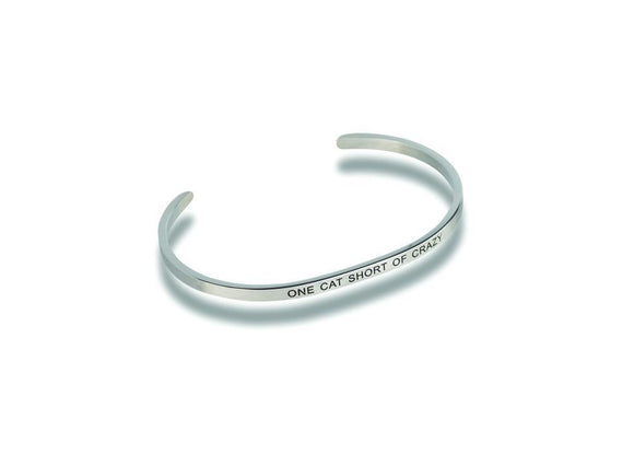 One Cat Short of Crazy Stainless Steel Bracelet - Turnmeyer Galleries