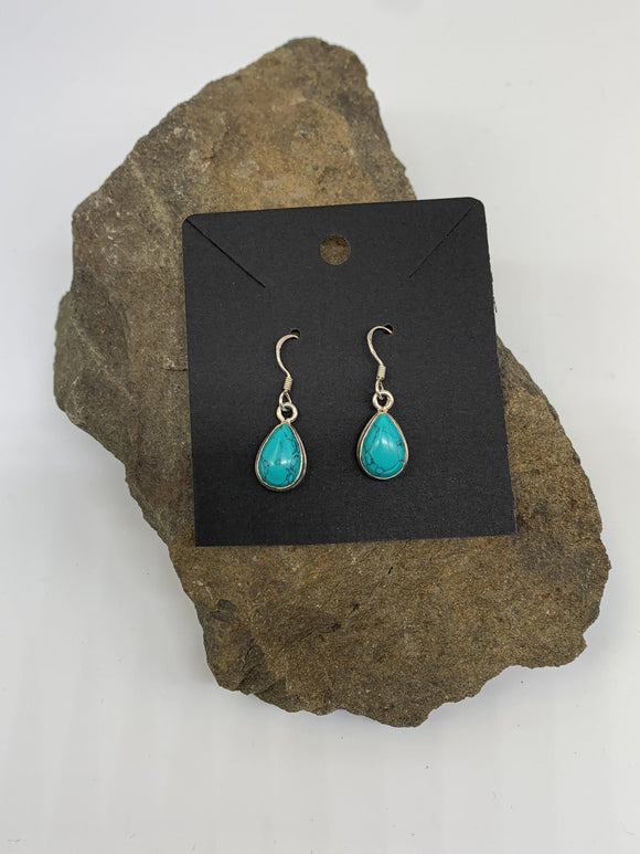 Sterling Silver Gemstone Turquoise Ear Rings 925 - Turnmeyer Galleries