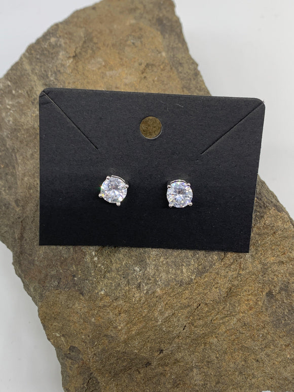 Sterling Silver Cubic Zirconia 2 Carat Ear Rings 925 Round Cut - Turnmeyer Galleries