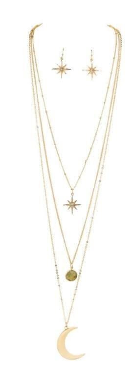 GOLD THREE LAYER MOON STAR NECKLACE SET