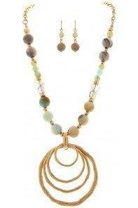 Natural Beaded Five Circle Necklace and Ear Ring Set - Turnmeyer Galleries