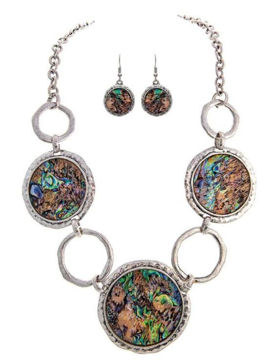 SILVER ABALONE CIRCLES NECKLACE SET