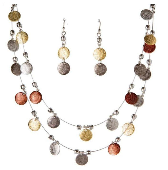 MULTI METAL TEXTURED DISC NECKLACE SET