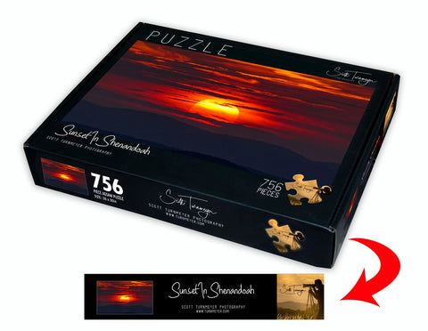 Sunset in Shenandoah Fine Art Photography Jigsaw Puzzle by Scott Turnmeyer