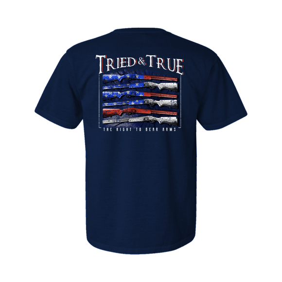 Gun USA Flag T-shirt by Tried and True