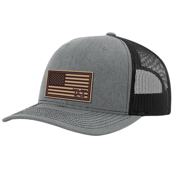 American USA Flag Leather Patch Hat by Tried and True