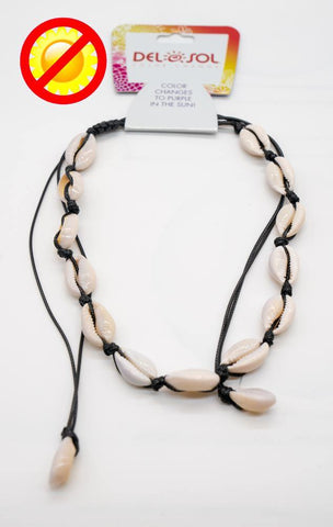 Del Sol NL Cowries Shell Purple Necklace