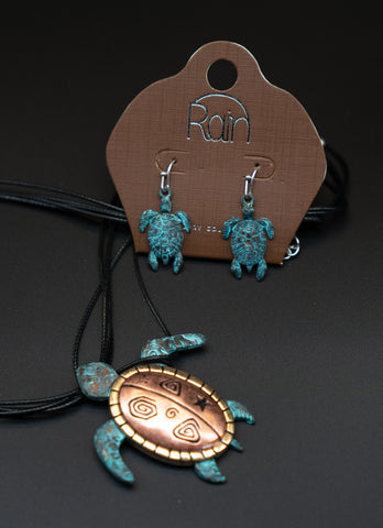 Long Life Sea Turtle Necklace and Ear Ring Set