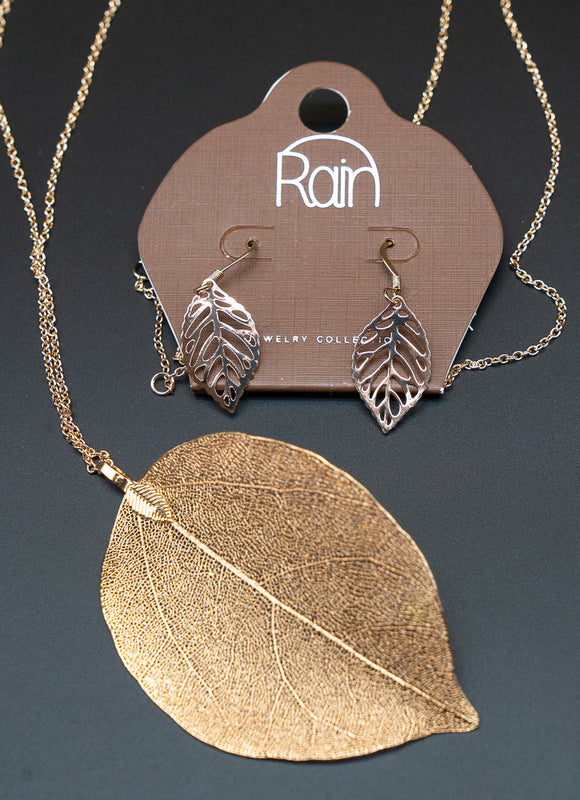 Gold Long Large Natural Leaf Necklace and Earring Set