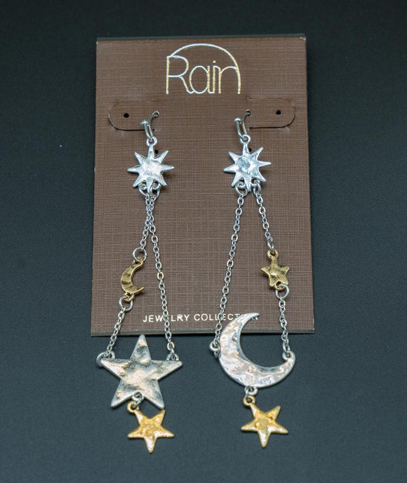 Chain Drop Celestial Ear Rings - Turnmeyer Galleries