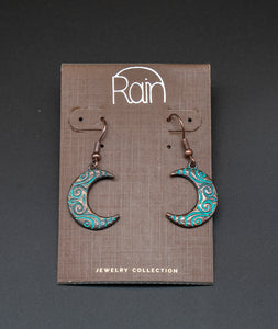Patina Copper Crescent Moon Earrings