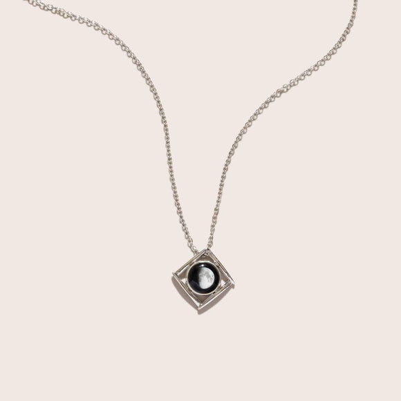 Moonglow Lunula Tetrad Necklace in Stainless Steel - Turnmeyer Galleries