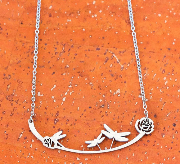 Dragonflies Stainless Steel Necklace - Turnmeyer Galleries