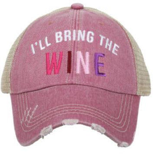 I'll Bring the Wine Trucker Hat Pink