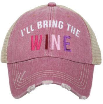 I'll Bring the Wine Trucker Hat Pink - Turnmeyer Galleries