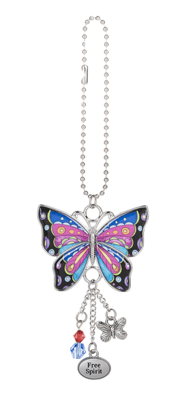 Enjoy Every Moment Butterfly Car Charms - Pink & Blue - Turnmeyer Galleries
