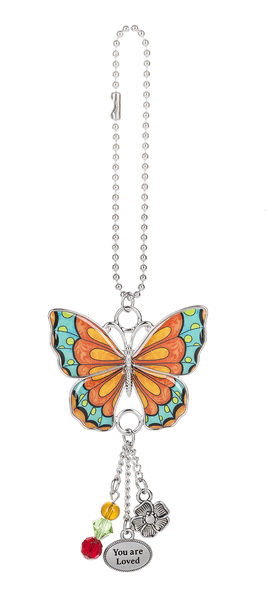 Enjoy Every Moment Butterfly Car Charms - Teal & Orange - Turnmeyer Galleries