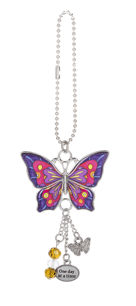 Enjoy Every Moment Butterfly Car Charms - Pink & Purple - Turnmeyer Galleries