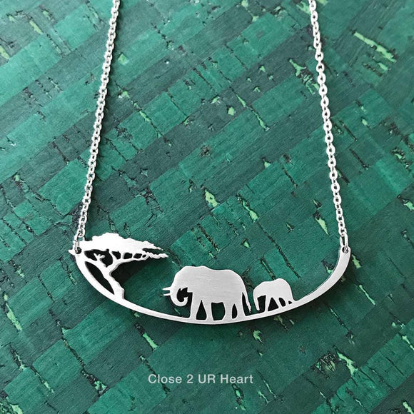 Elephants Stainless Steel Necklace - Turnmeyer Galleries