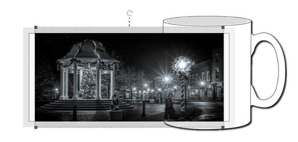 Black and White Front Royal at Christmas Ceramic Photographic Mug - Turnmeyer Galleries