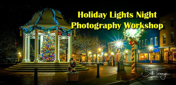 Night Time Holiday Photography Workshop Along Main Street in Front Roya, Virginia - Turnmeyer Galleries