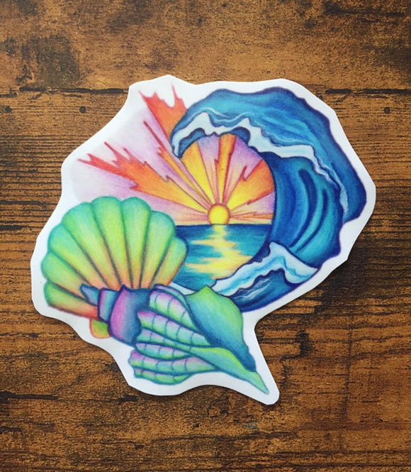 Sea Shell Hand Draw Vinyl Decal Sticker